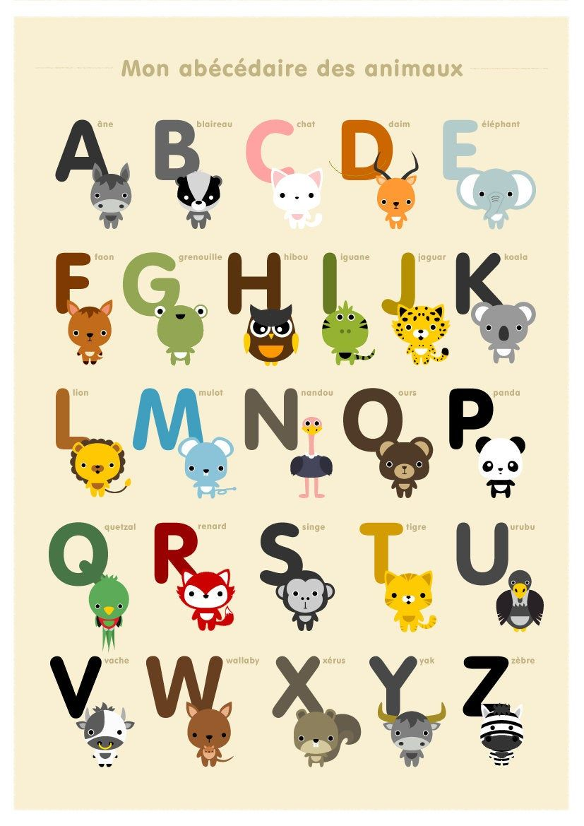 French Alphabet Poster A Z Nursery Art Animal Children Room Decor Classroom Decor Alphabet Art Print French Alphabet Kids Art Prints