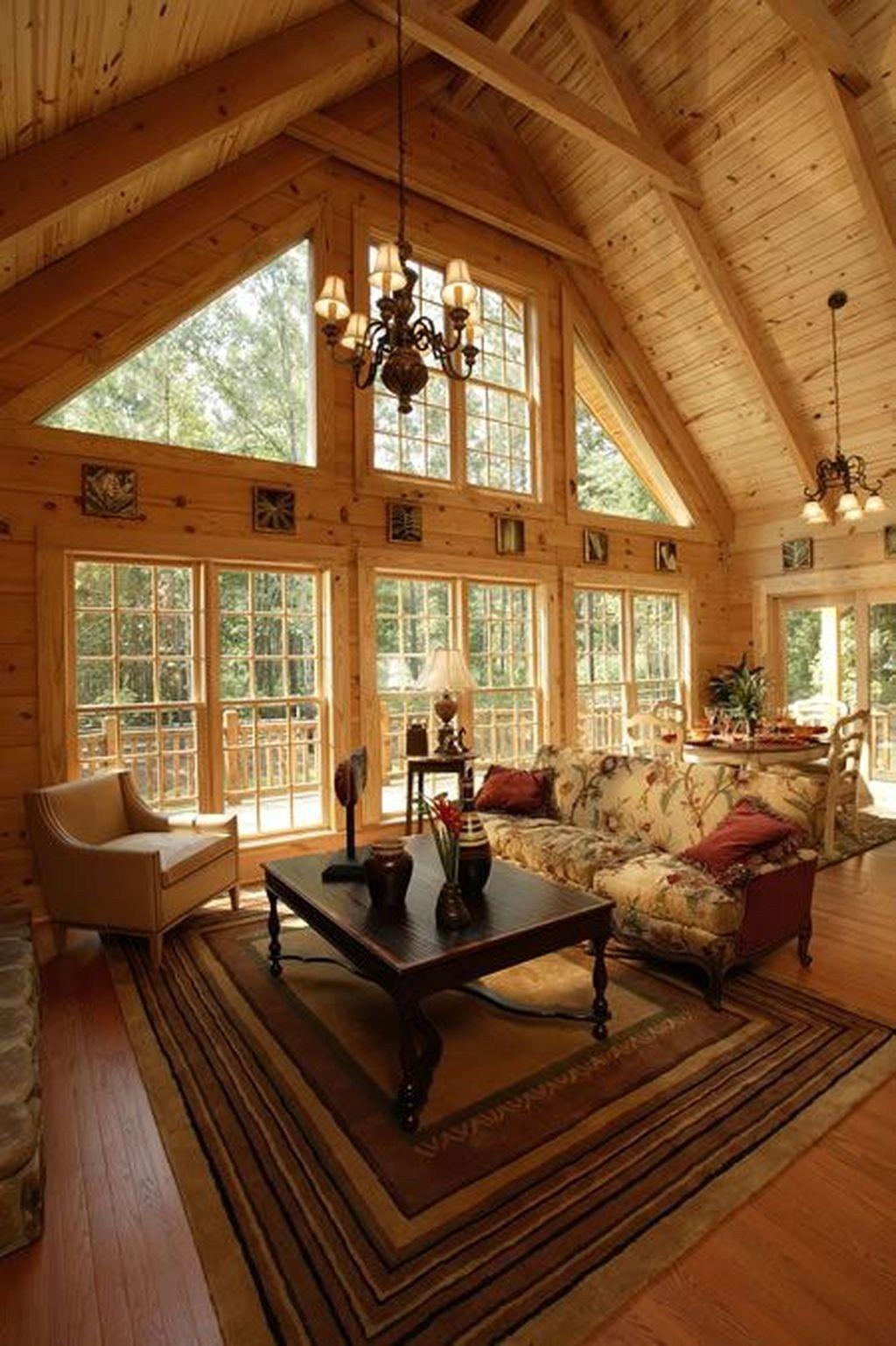 Amazing Lodge Living Room Decorating Ideas 24 Log home