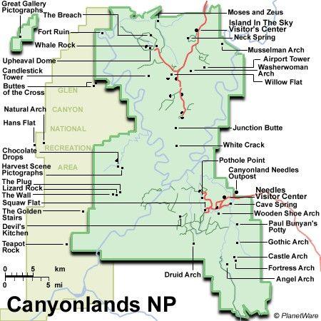Map of Canyonlands NP Glen Canyon Utah II Pinterest Utah