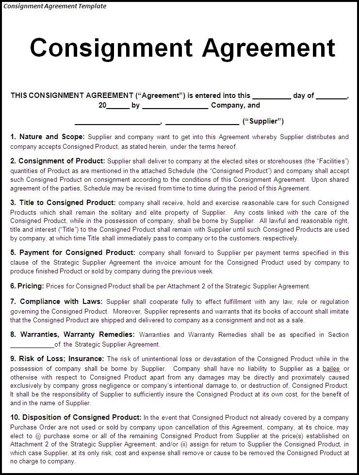 Image Result For Consignment Agreement Sample For Furniture