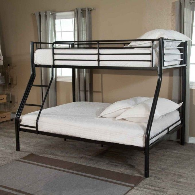 Shared Bedroom Idea With Black Metal Bunk Beds Also White Bed Cover