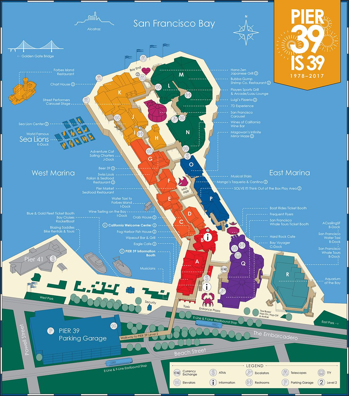 A PIER 39 Map which is downloadable and printable showing various