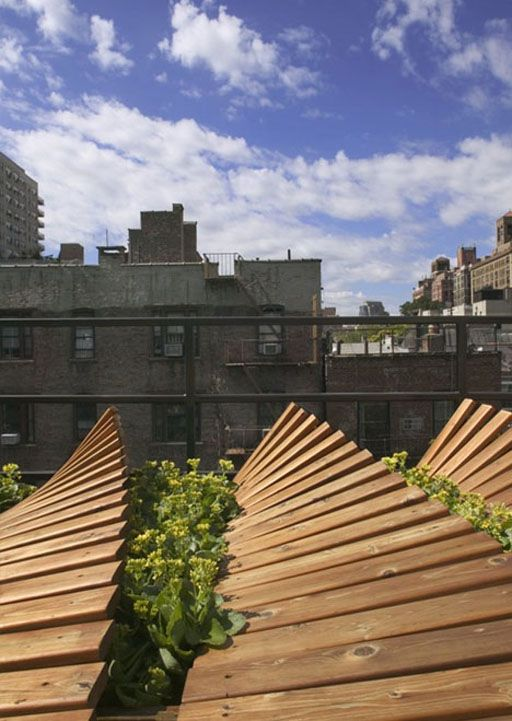 Cool Nyc Rounded Wood Deck Roof Garden Green Roof Green Architecture