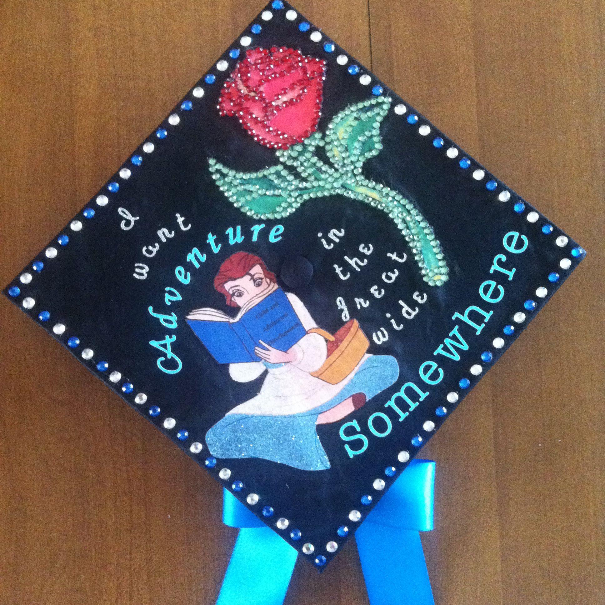 Graduation Cap Decoration Beauty And The Beast Belle Disney Graduation Disney Graduation Cap College Graduation Cap Decoration