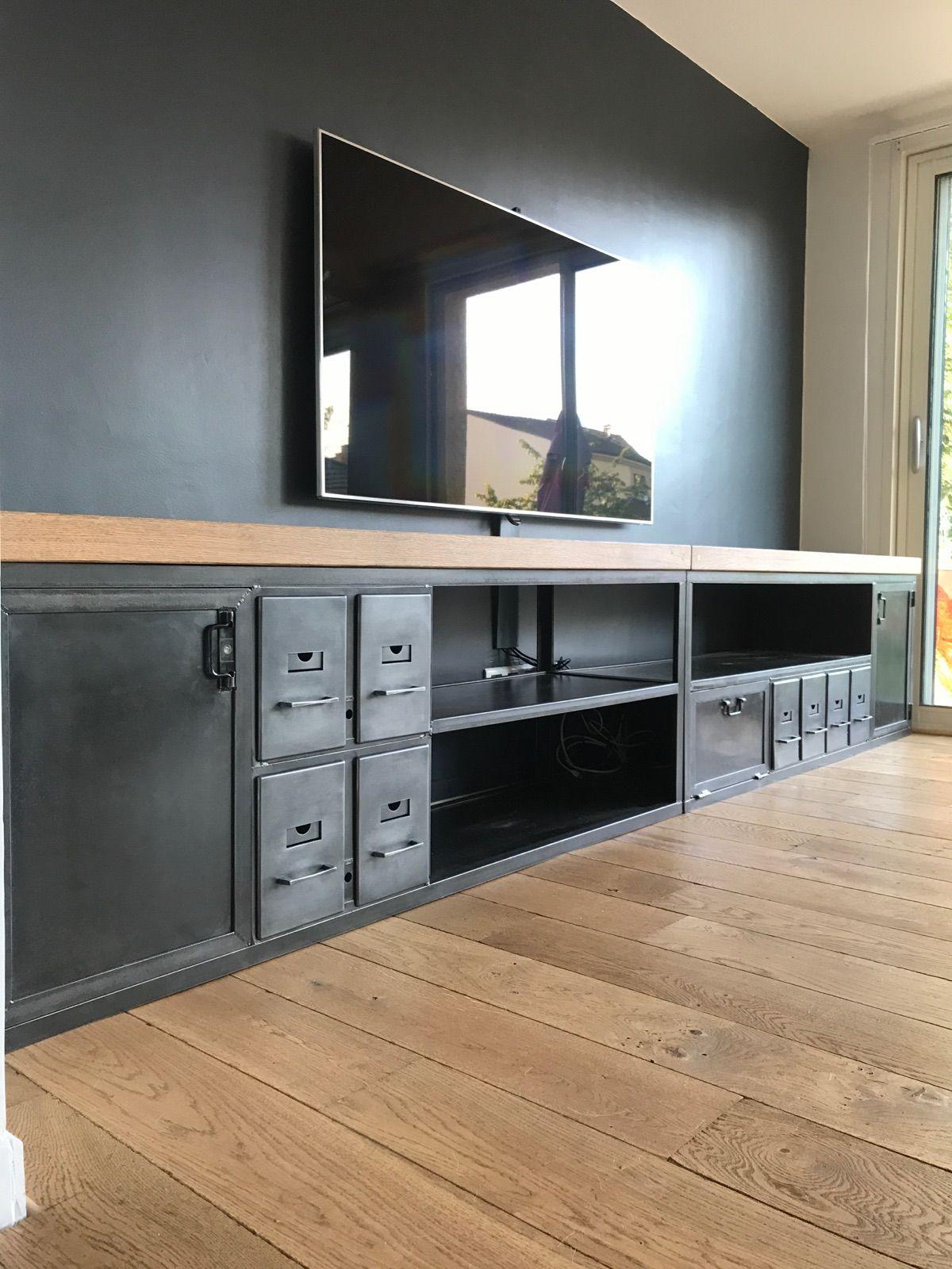 Superbe Meuble Tv Industriel Tiroir Et Casier Etagere Metallique