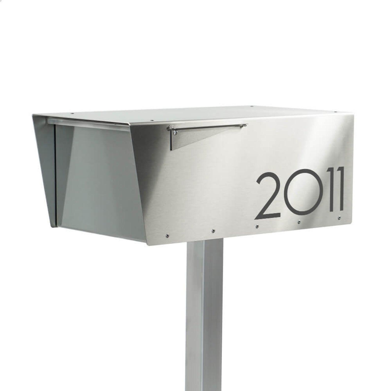 Wide Minimalist All Stainless Modern Mailbox Post Mounted Post Mount Curbside Modern Mailbox Mounted Mailbox Modern Design