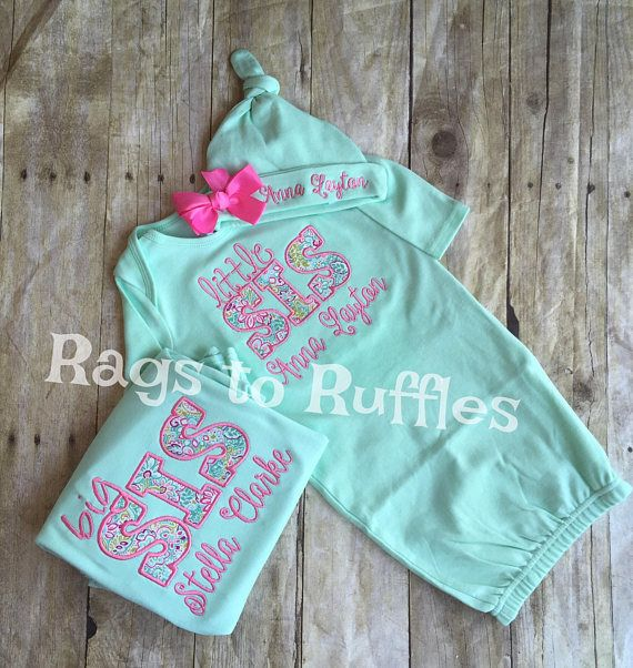 8af6ceb67976 Baby Girl Personalized Coming Home Gown- Big Sister Personalized Shirt-  Monogrammed Baby Girl Gown S
