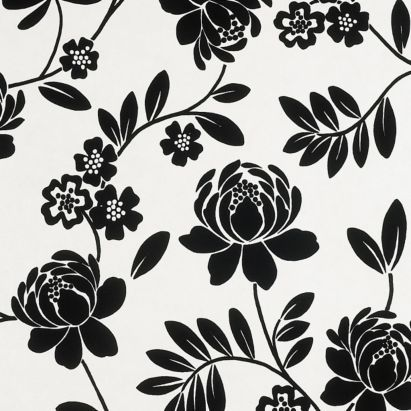 Kristen paste the wall wallpaper in black and cream with a flock finish by statement decorate - Cream flock wallpaper ...