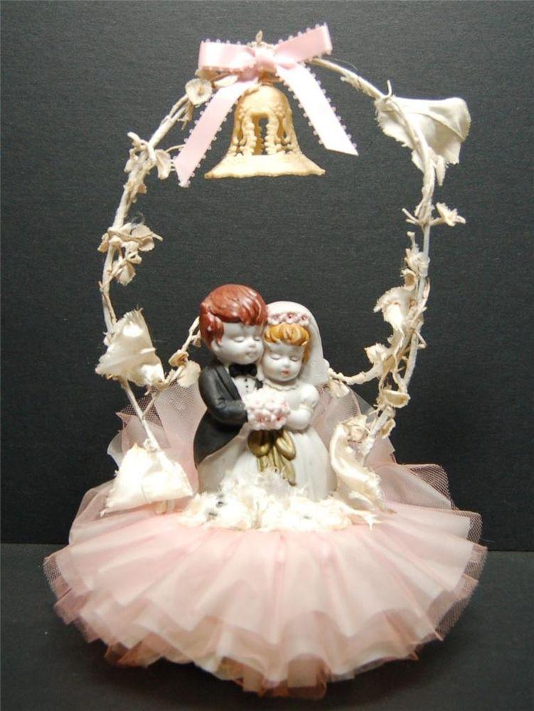 Wedding Cake Topper Vintage Bride Groom Porcelain Figurine, Pink Tulle, Ribbons