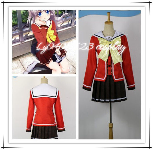 Smart New Anime Charlotte Nao Tomori Red School Uniform Cosplay Costume Women's Costumes
