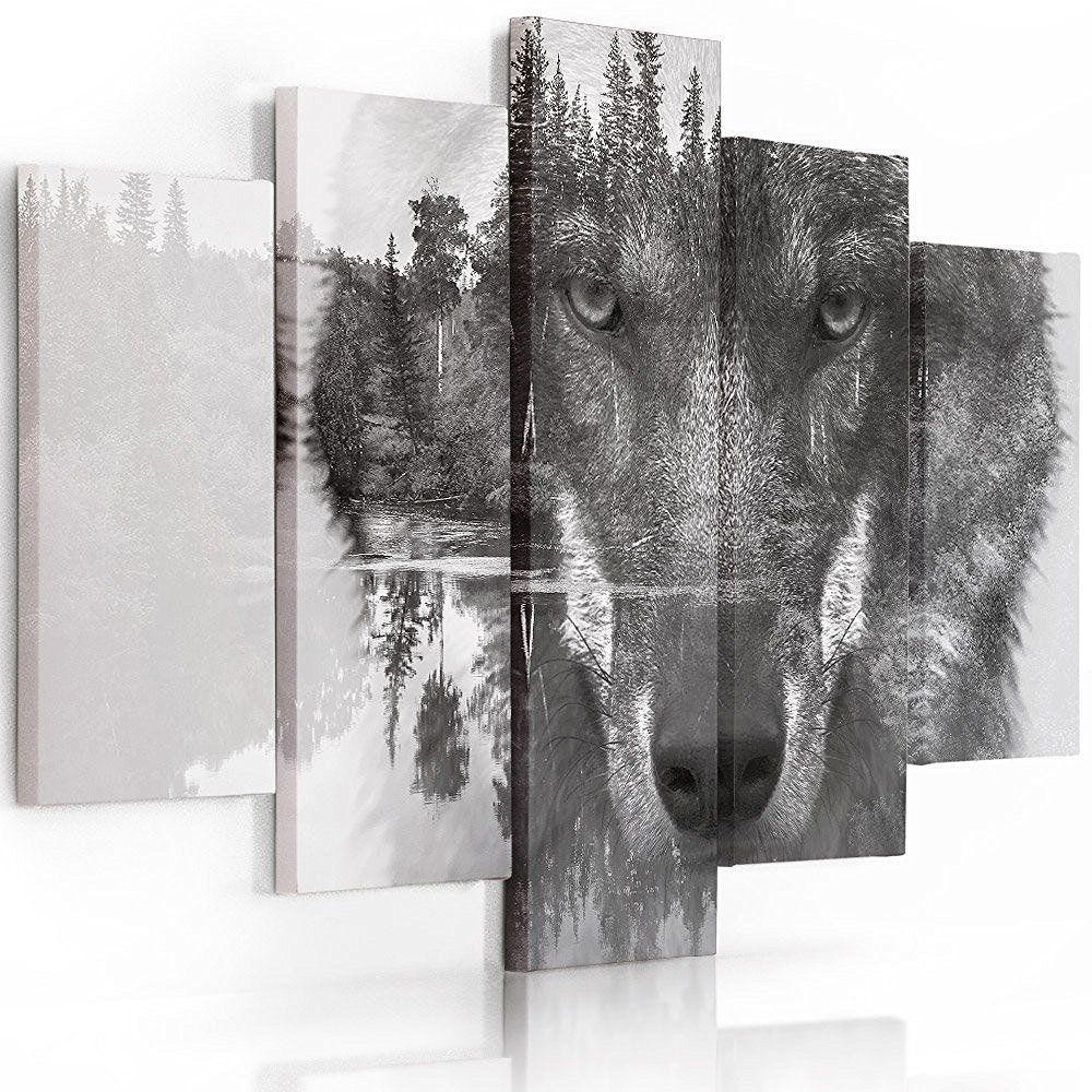 Feeby Frames, Leinwandbild Bilder Wand Bild - 5 Teile - Wandbilder Kunstdruck (WOLF SCHWARZ UND WEIß) 100x150 cm, Typ A: Amazon.de: Küche & Haushalt