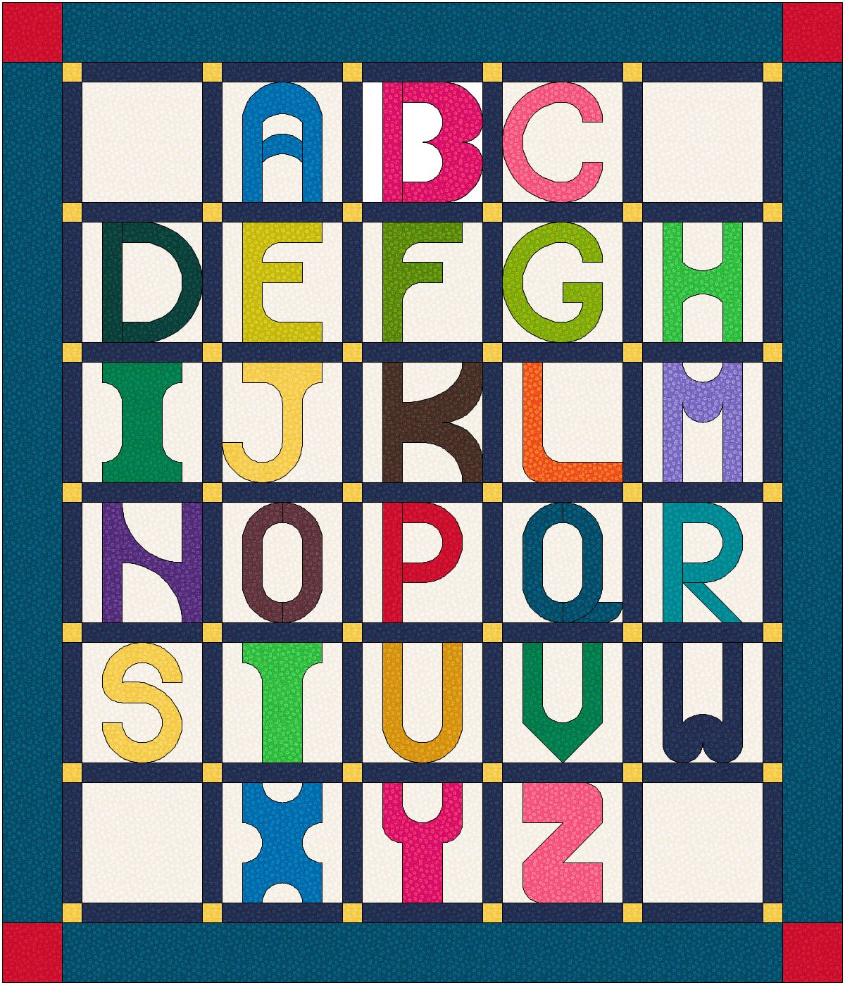Quilt Alphabet Pattern With Slight Curve In Each Letter