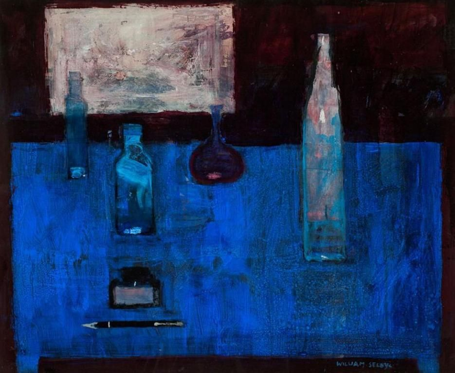 William SELBY-Bottles on Blue