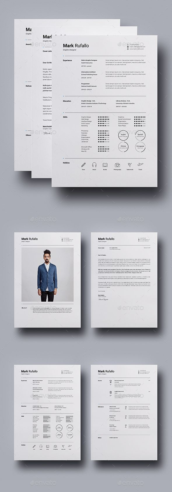 Resume  Cv Template Indesign Indd Ms Word  Us Letter  A