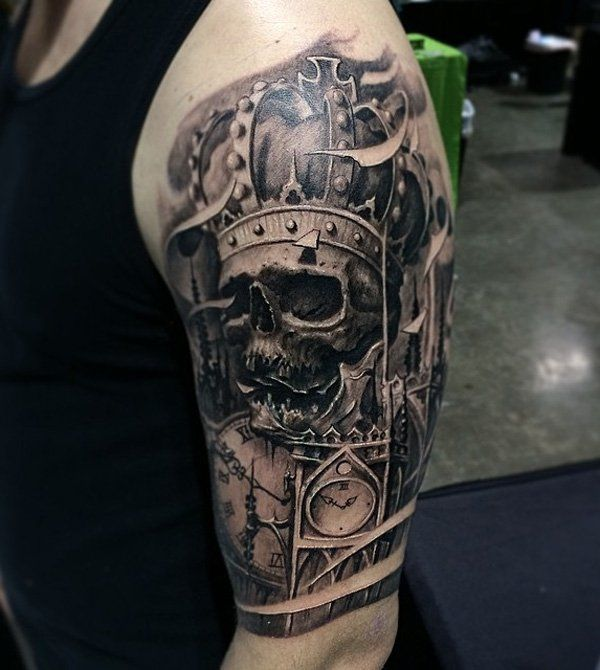 100 awesome skull tattoo designs tattoo designs crown and tattoo. Black Bedroom Furniture Sets. Home Design Ideas