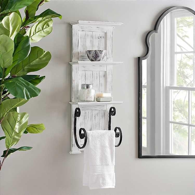 White Beach Shelf With Hooks Coastal White Bathroom Shelf Etsy In 2020 White Bathroom Shelves Bathroom Wood Shelves Bathroom Shelves For Towels