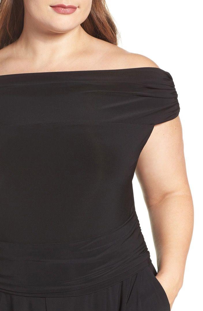 Main Image - Eliza J Jersey Off the Shoulder Jumpsuit (Plus Size)