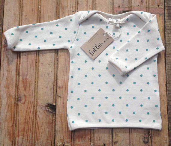SALE  Organic Cotton Long Sleeve Top  Turquoise Spots door fablebaby