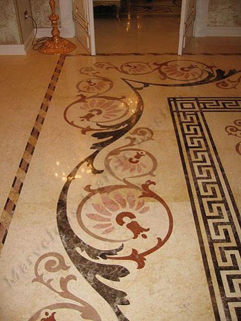 Greek Key Border Master Bath Tile Floor Design Flooring Marble