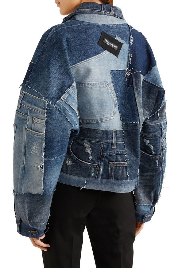 Distressed patchwork denim jacket | Jeansjacke damen, Mode