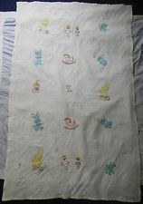 Vintage Baby Child Crib Quilt Blanket w Applique Animals Hand Quilted Lamb Bunny