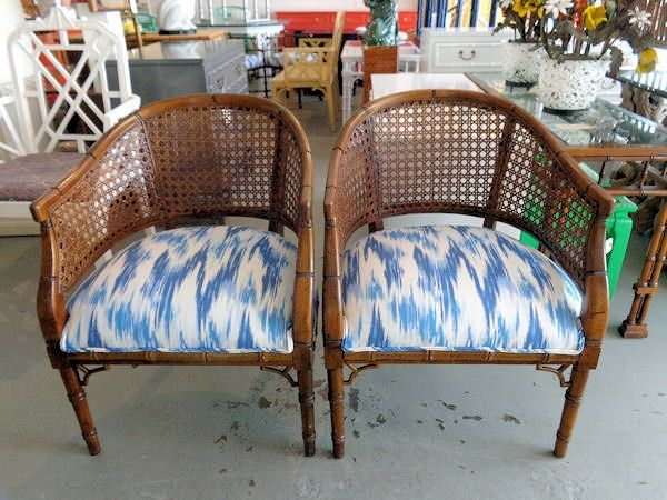 Faux Bamboo Barrel Chairs For The
