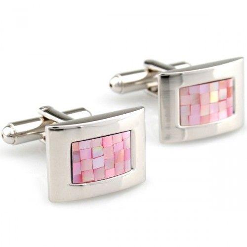 Novelty pink shell plating silver camber cufflinks