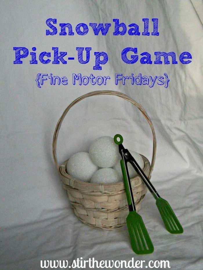 Snowball Pick-Up & Transfer Game - A fun way to practice fine motor skills!   Stir The Wonder