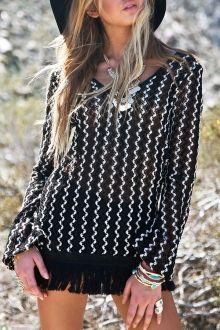 Wavy Striped V Neck Long Sleeve Dress