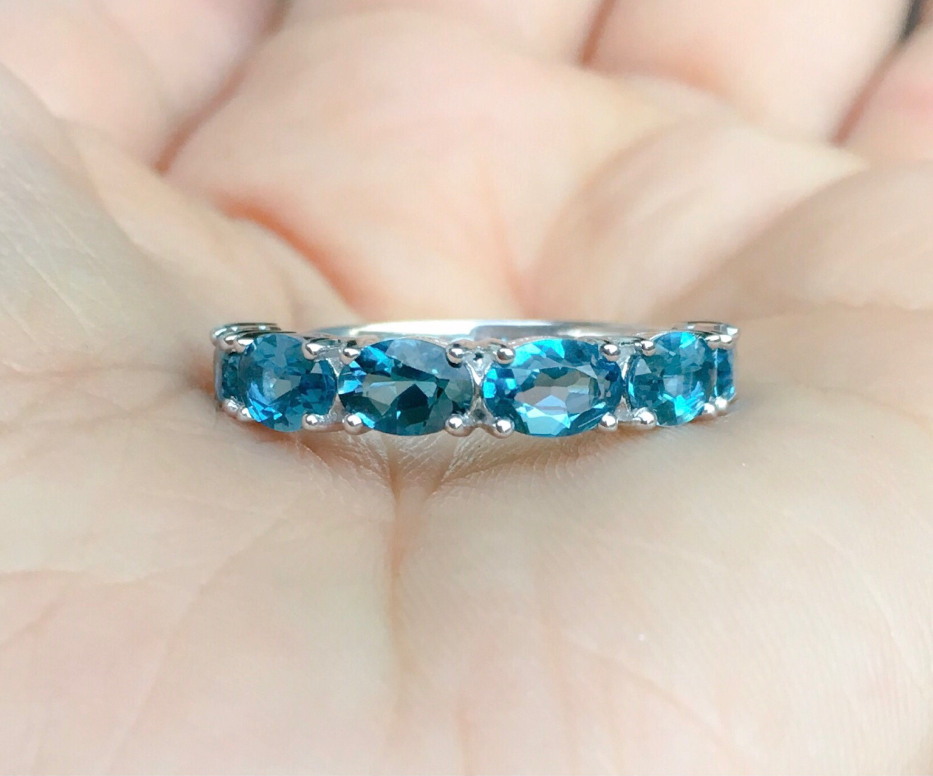 London Blue Topaz Ring 5 Stone Wedding Band 14k Engagement Ring