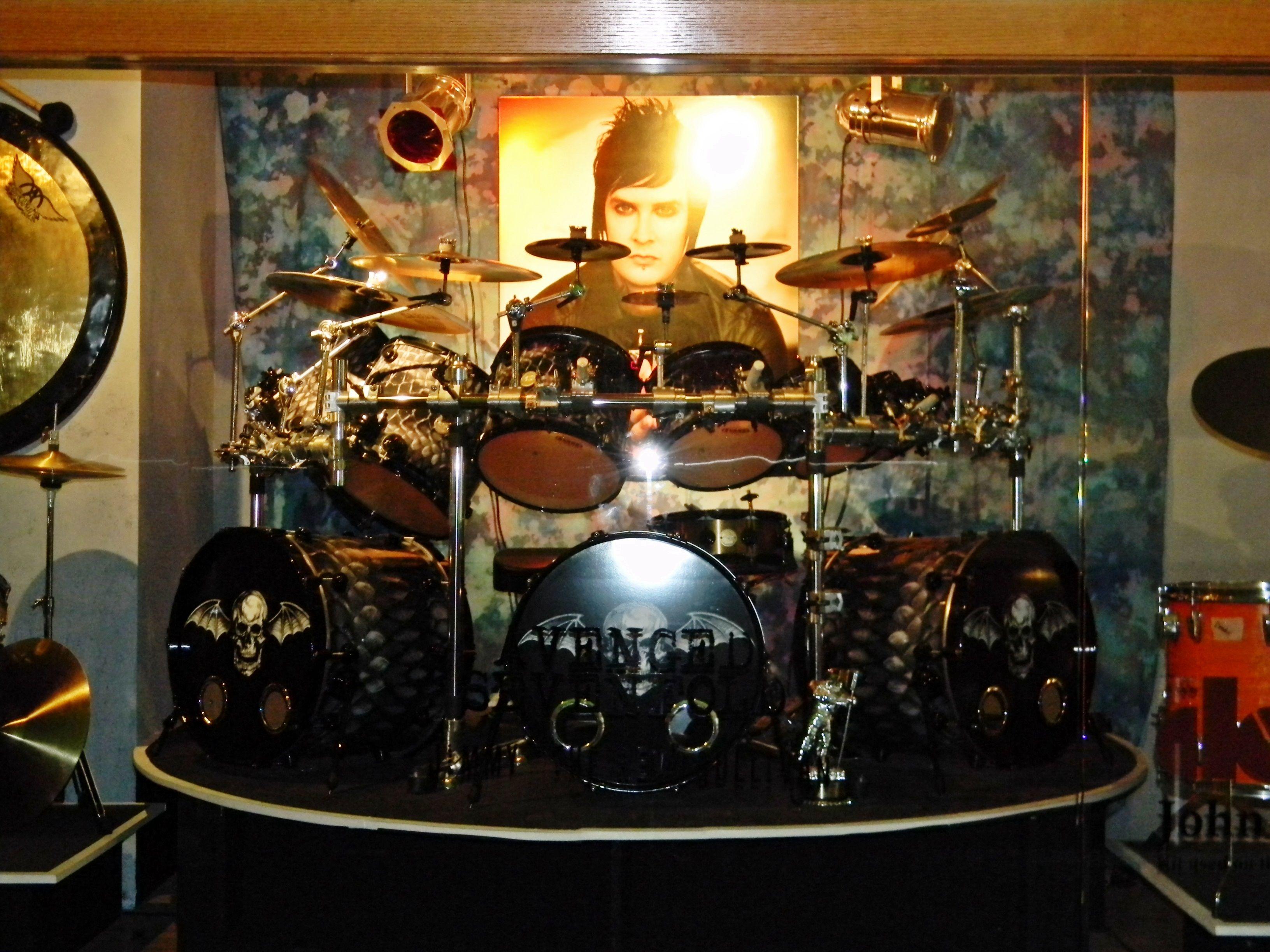 Avenged Sevenfolds Jimmy The Rev Sullivans Drum Kit On Display At Hard Rock Hotel And Casino Las Vegas NV