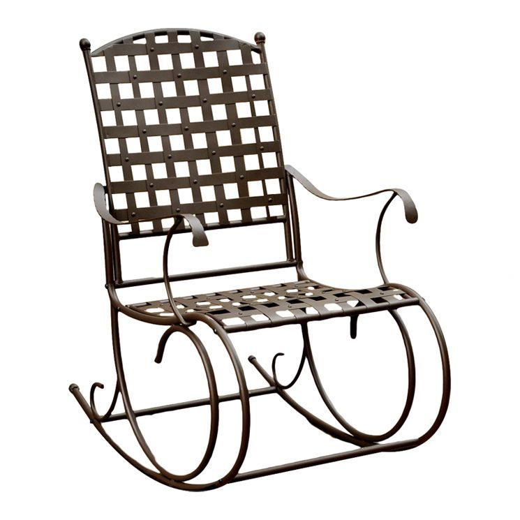Santa Fe Wrought Iron Outdoor Patio Rocker In Brown