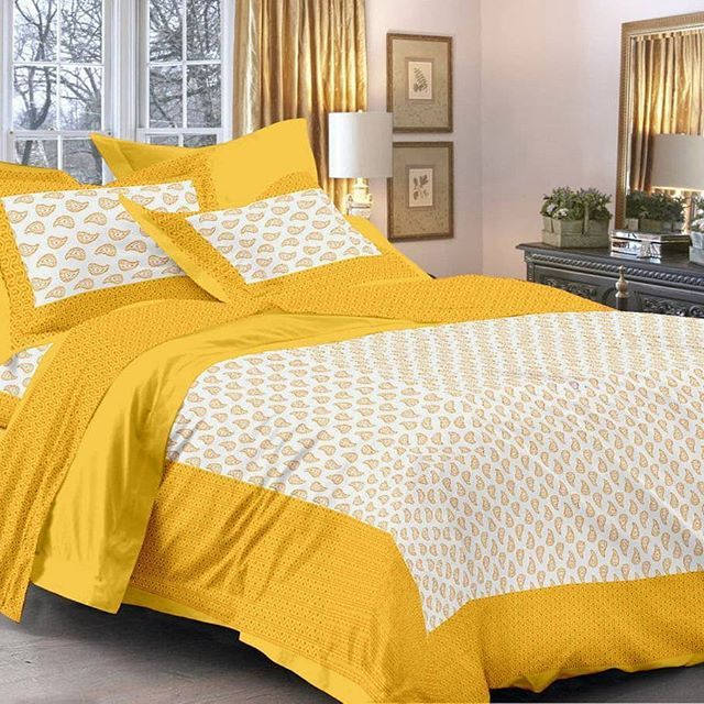 8a942f55527c Yellow Queen Size Traditional Bed Sheet with 2 Pillow Covers Color : Yellow  Fabric : Cotton Type : Queen Size Style : Ethnic Motifs Set Content : 1  Bedsheet ...