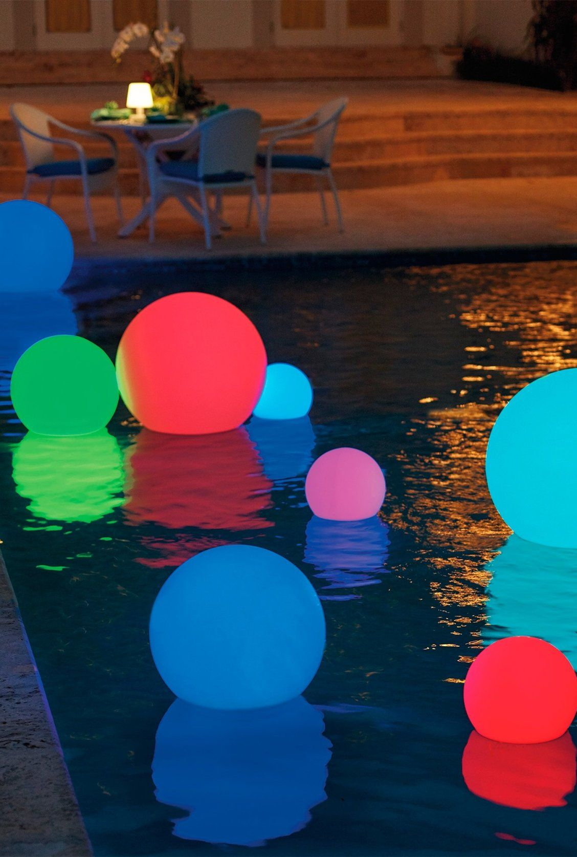 Led Color Changing Glow Balls Frontgate Pool Decor Deck Lighting Backyard Pool