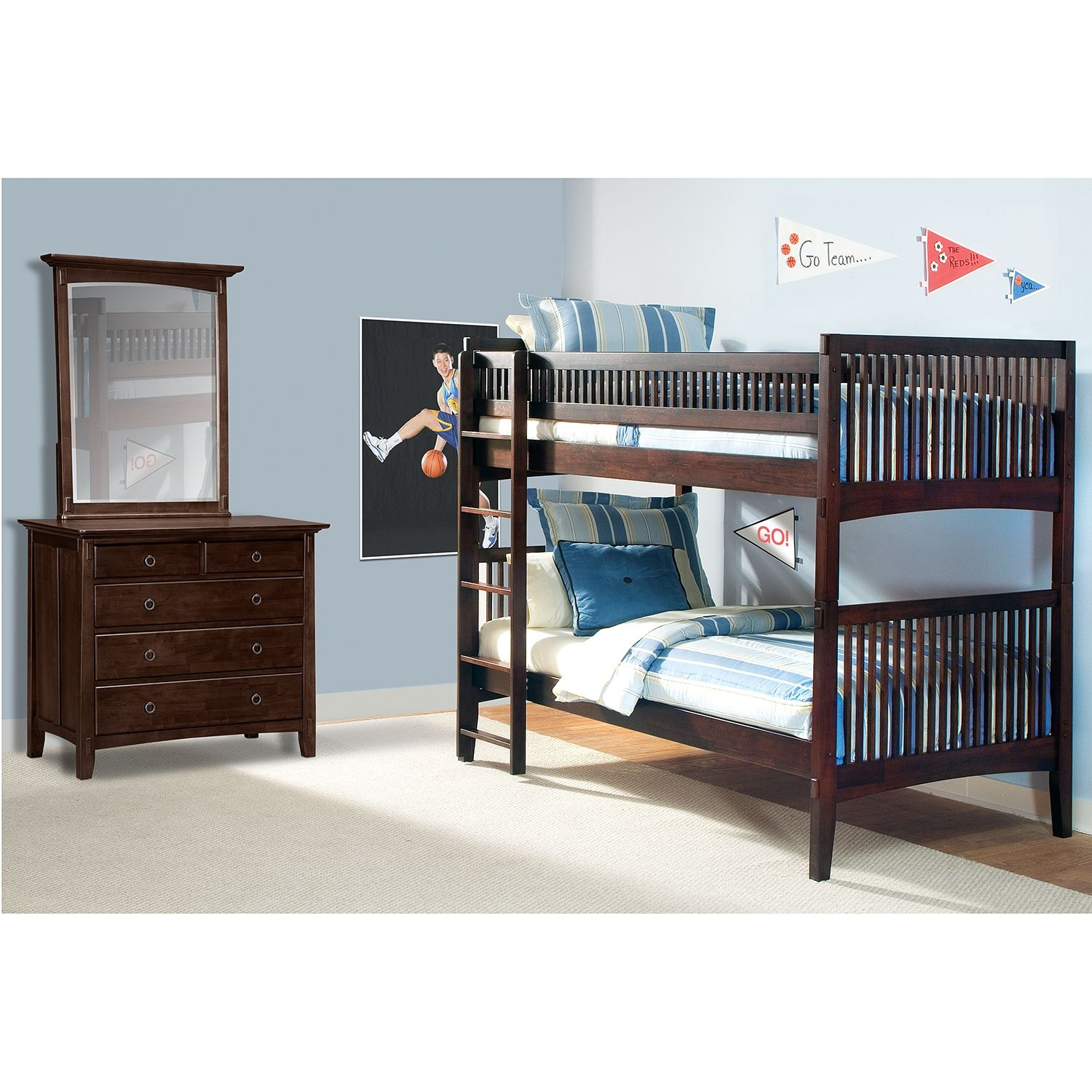 Arts Crafts Dark Iii Twin Bunk Bed American Signature Furniture