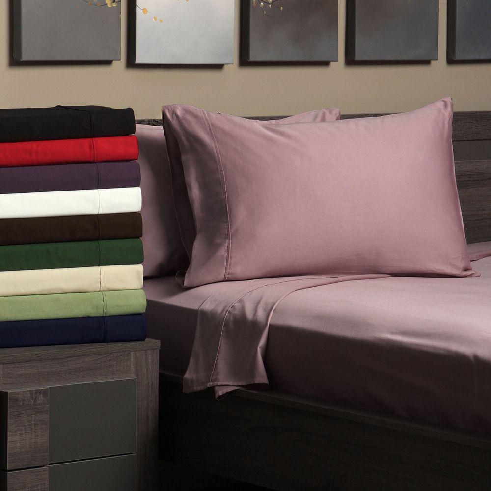 Egyptian cotton sateen thread count split king sheet set