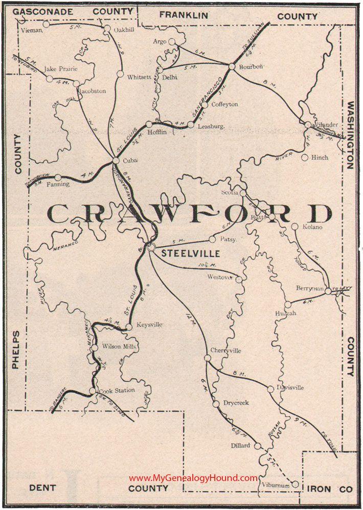 Crawford County Missouri Map 1904 Steelville Cuba Bourbon