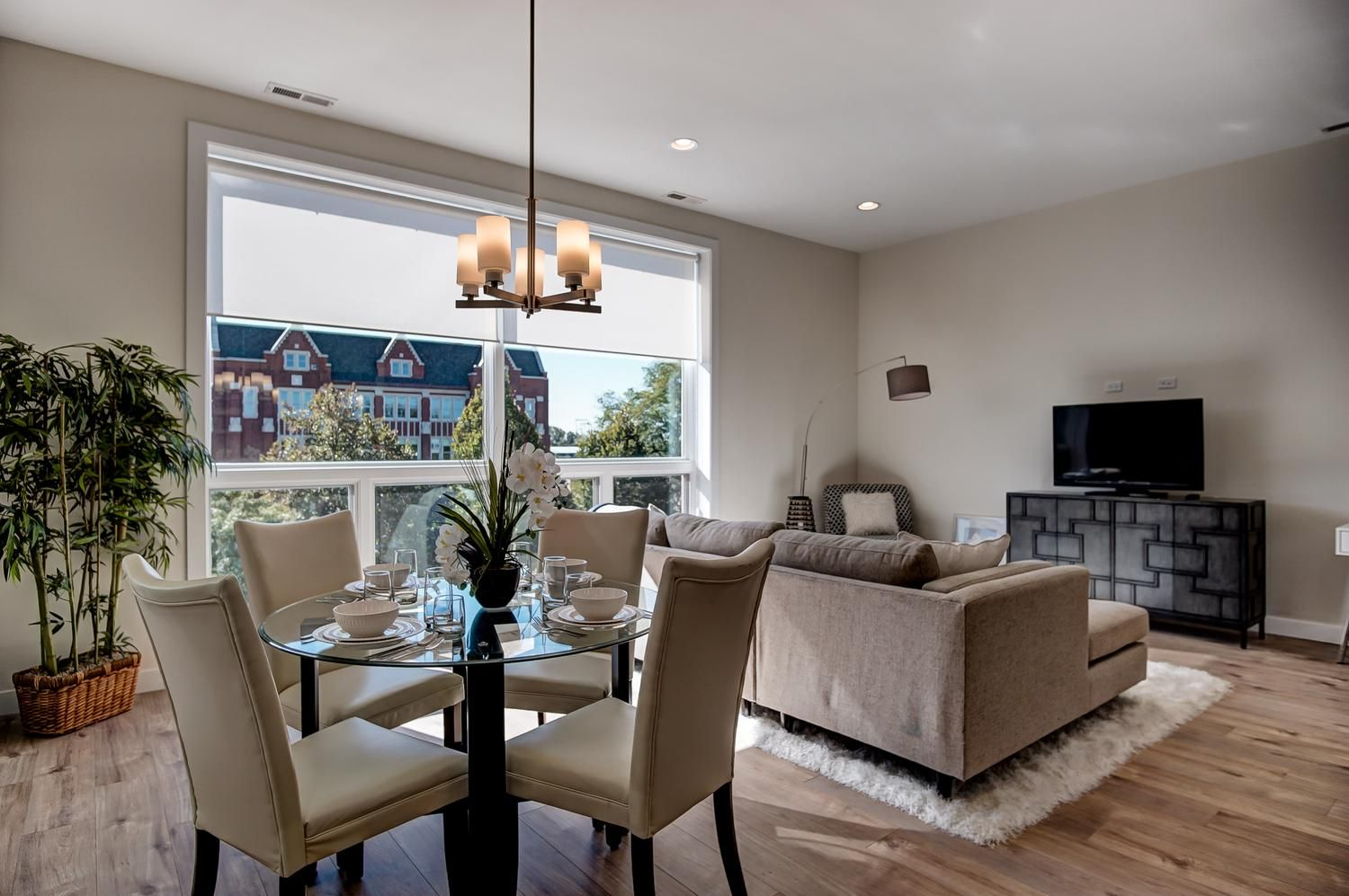 Modern Open Concept Dining Room And Living Room With Large Picture