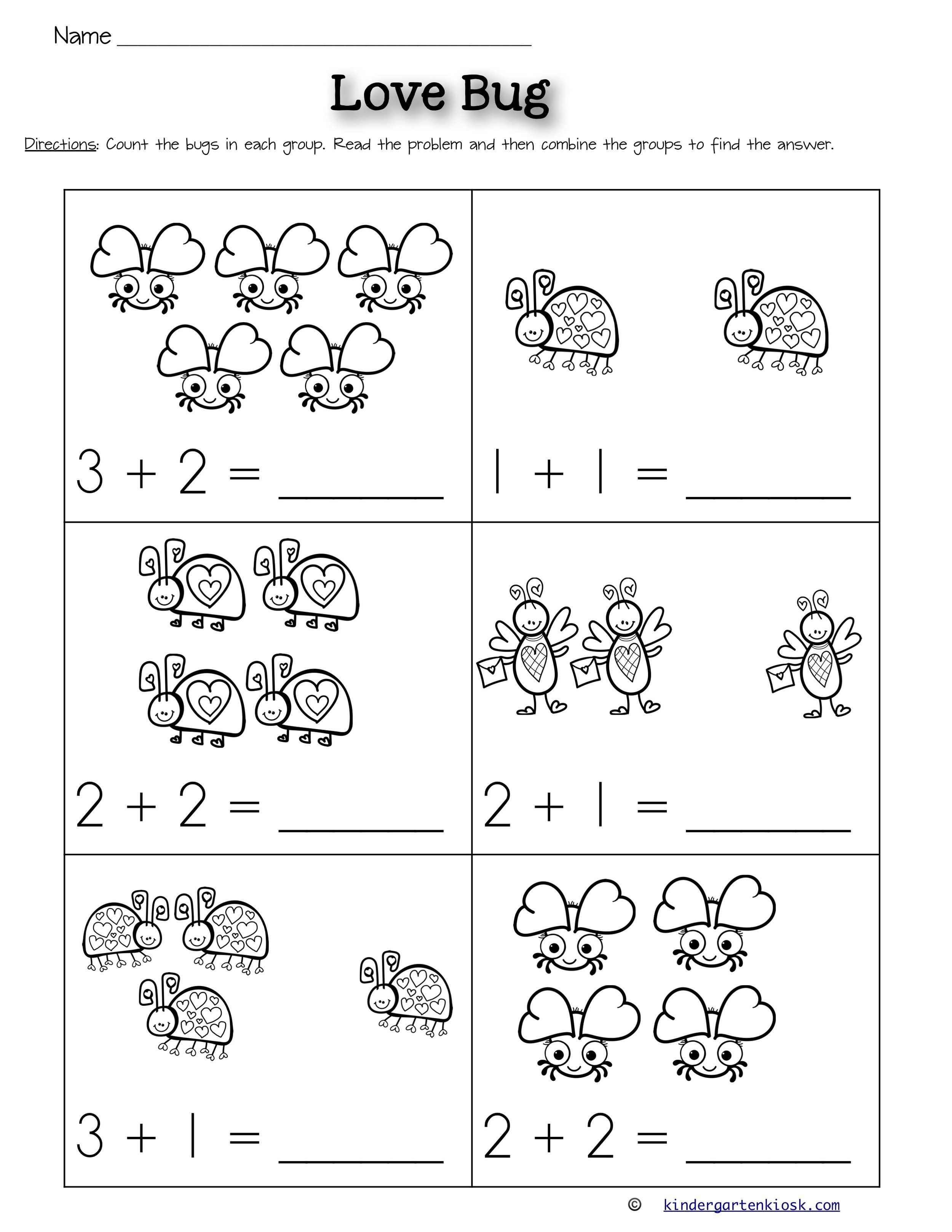Addition 0-5 Worksheets: February — Kindergarten Kiosk   Kindergarten math worksheets  addition [ 3235 x 2500 Pixel ]