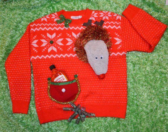 Ugly Christmas Sweater Multiple Sizes Runs Big Saggy Reindeer