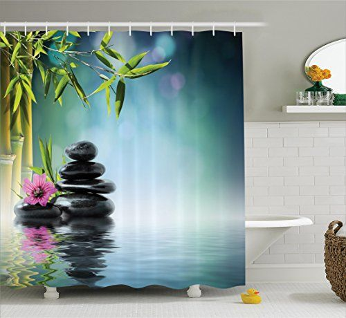Spa Decor Shower Curtain Set By Ambesonne Tower Stone And
