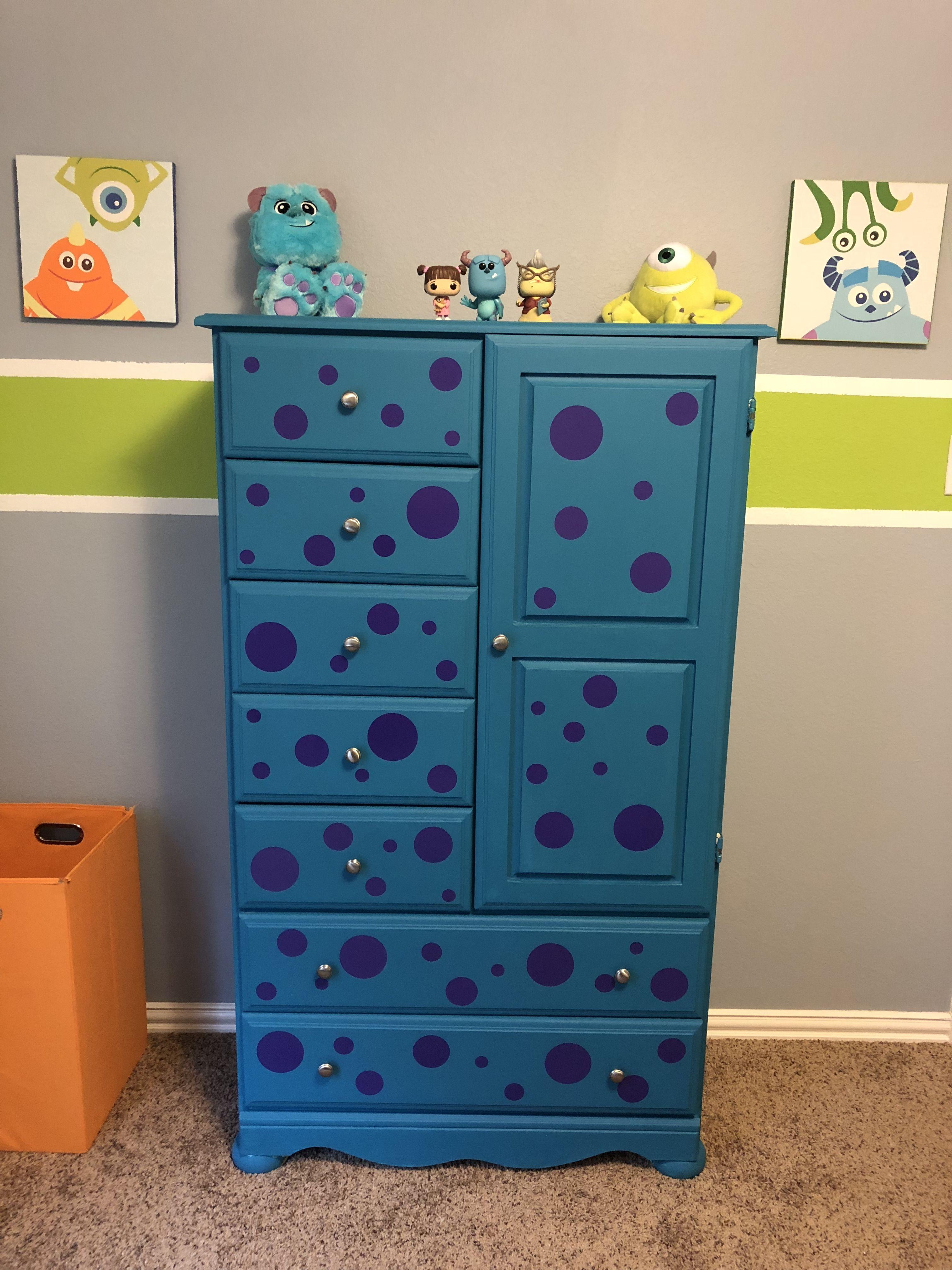 Our Sons Dresser Inspired By Monsters Inc Monstersinc Nursery Disney Baby Boy Room Nursery Disney Baby Rooms Boy Nursery Themes