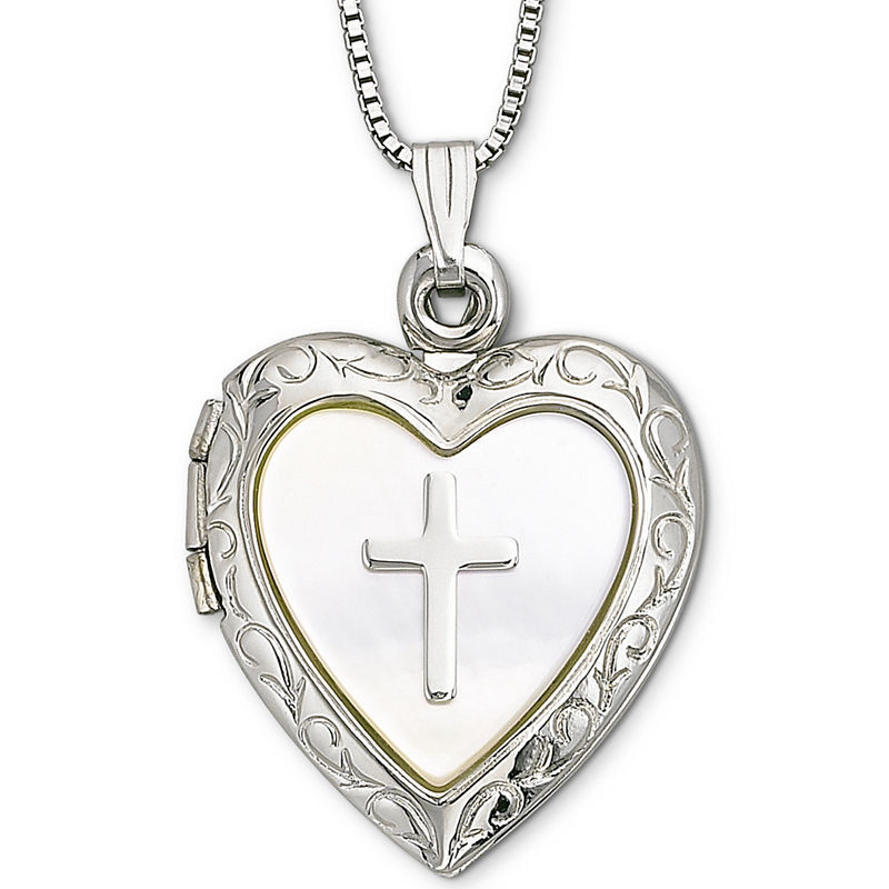 f40434e6800 Mother-of-Pearl Heart & Cross Locket Pendant Necklace | Products ...