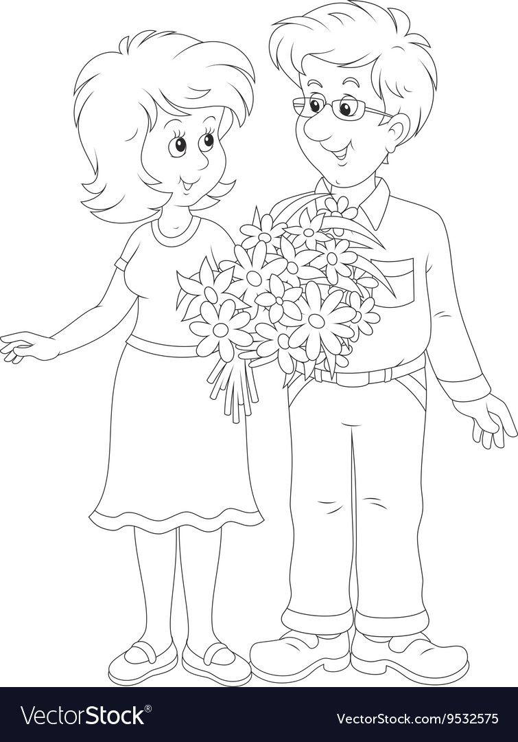 Loving Couple Vector Image On In 2020 Kolorowanki Myszka Miki Dzien Matki