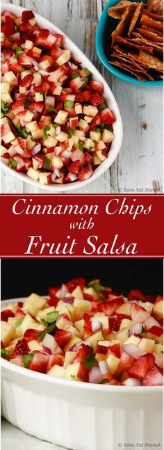 Cinnamon Wonton Chips with Fruit Salsa - Quick and easy cinnamon wonton chips with fruit salsa that is the perfect healthy snack - plus it's great for packing in your lunch!