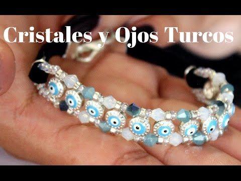 Como hacer una Pulsera de Cristales y Ojos Turcos : Pekas Creaciones - YouTube