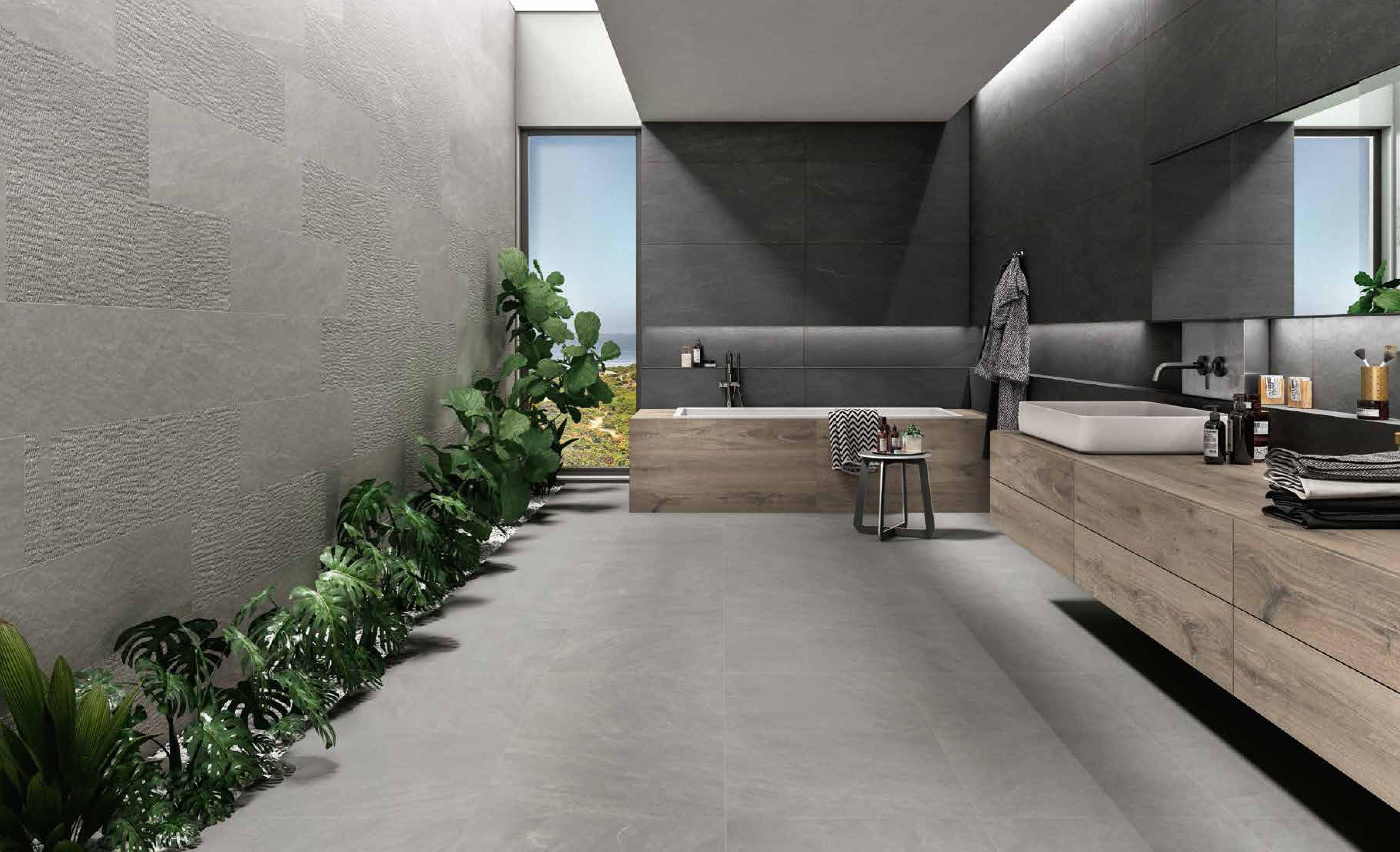 Modern Grey Bathroom With Grey Porcelain Tiles And Wood Vanity And Bathtub Gray Porcelain Tile Porcelain Tile Wood Vanity