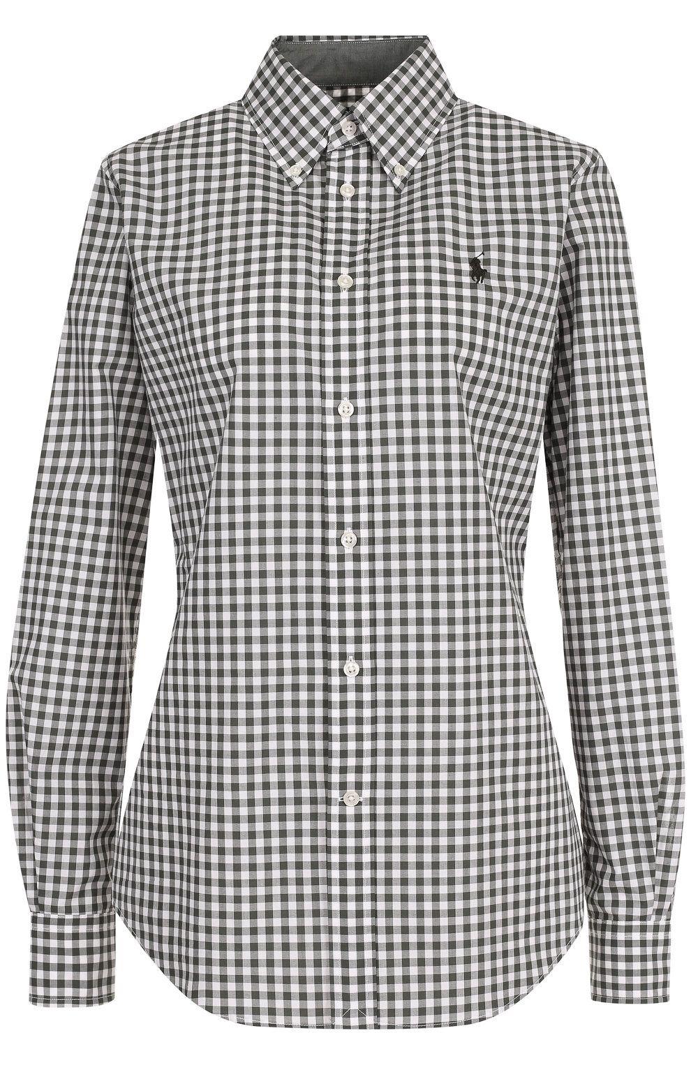 7fb63752da4 Женская хаки приталенная хлопковая блуза в клетку POLO RALPH LAUREN — купить  за 9295 руб.