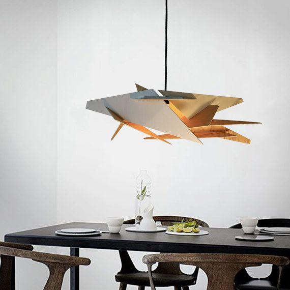 Holz Pendelleuchte Lasercut Kronleuchter Lampe Handmade Sperrholz Hängende  Decke ökologische Minimal Moderne Tassendesign Industrielle