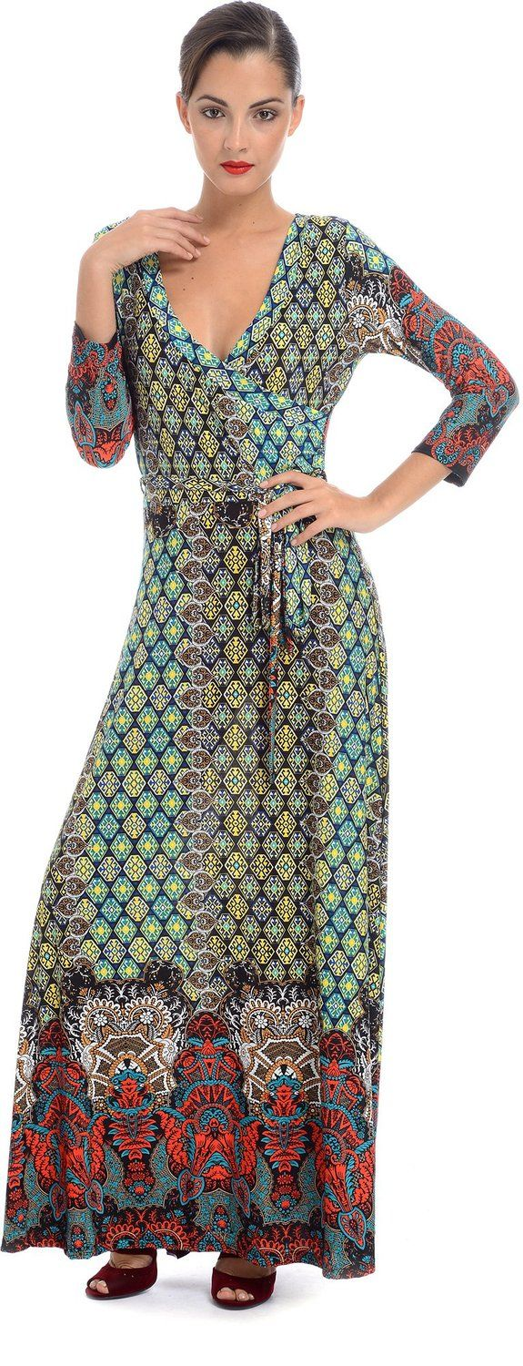 Pacificplex womenus moroccan jersey wrap maxi dress fashion